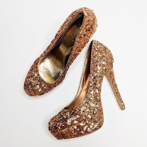 Bakers Shoes - Bakers Rose Gold Platform High Heels